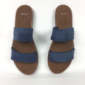 Sanuk Slip On Sandals Blue Double Banded Size 8